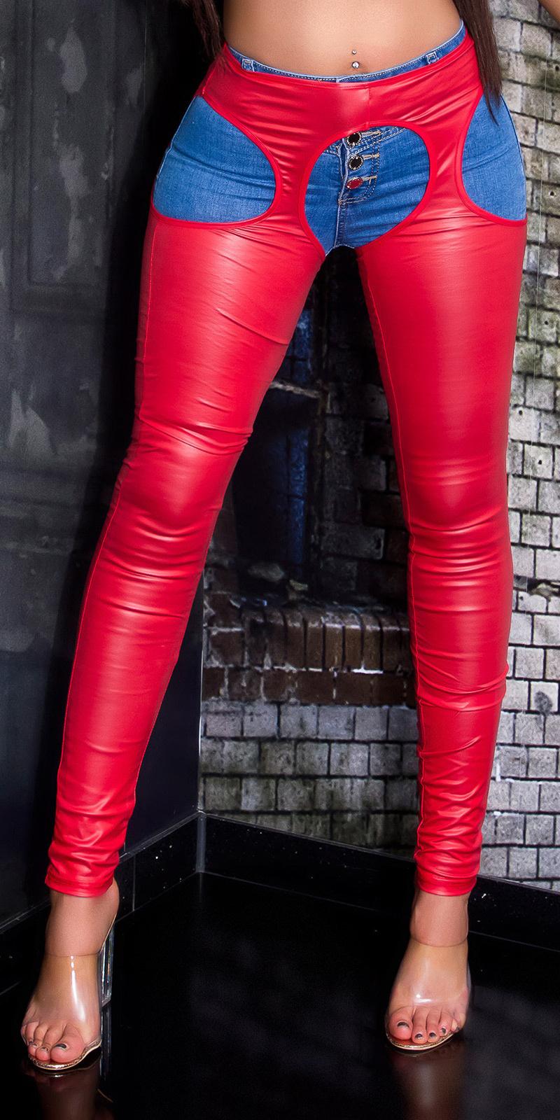 Sexy wetlook legging met uitsparingen rood