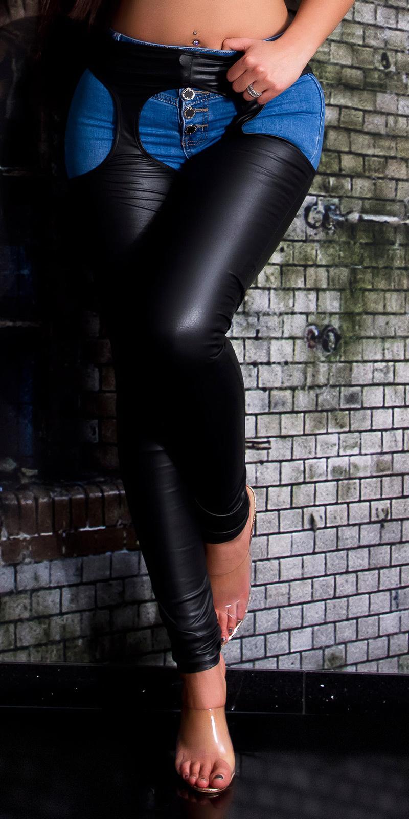 Sexy wetlook legging met uitsparingen zwart
