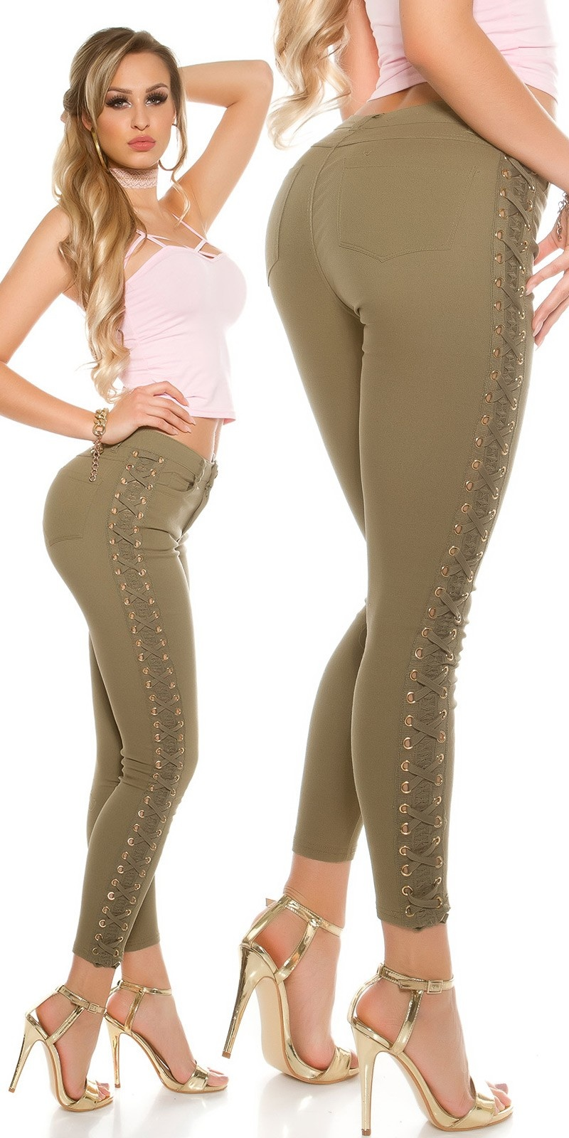 Sexy skinny jeans with lace and lacing Khaki