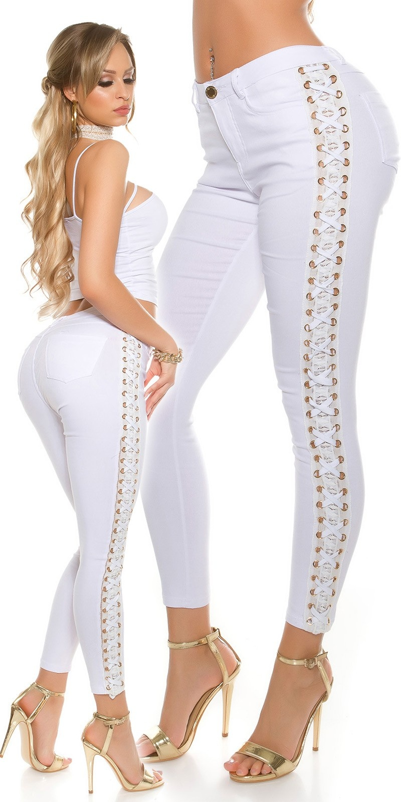 Sexy skinny jeans with lace and lacing White