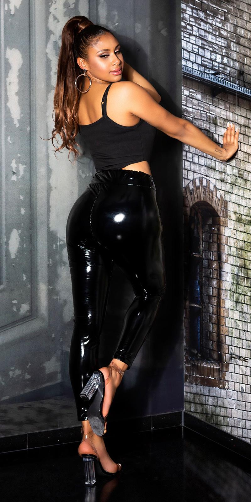 Sexy paperbag latexlook broek zwart