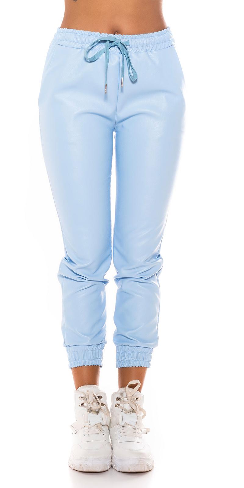 Trendy faux leder jogger style broek blauw