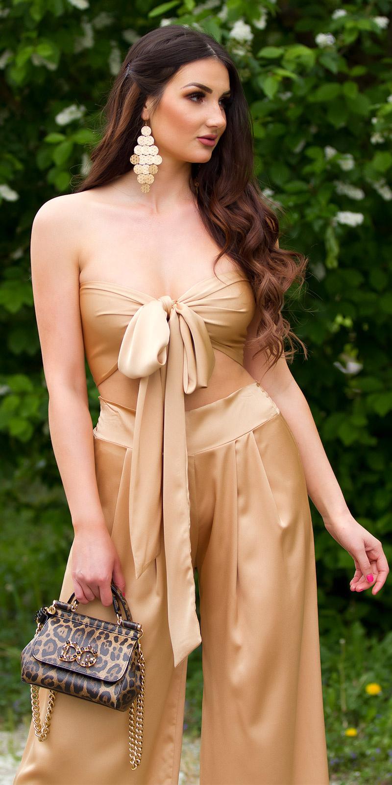 Sexy zomer set wijde broek+3in1 bandeau top bruin