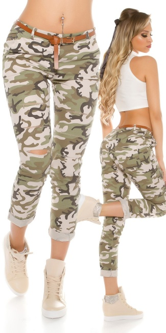 Hedendaags Trendy camouflage pants with cracks & belt Army - ai0000H6026-1 by VH-29