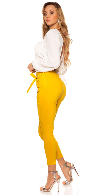 Sexy KouCla Treggings with tie belt Mustard