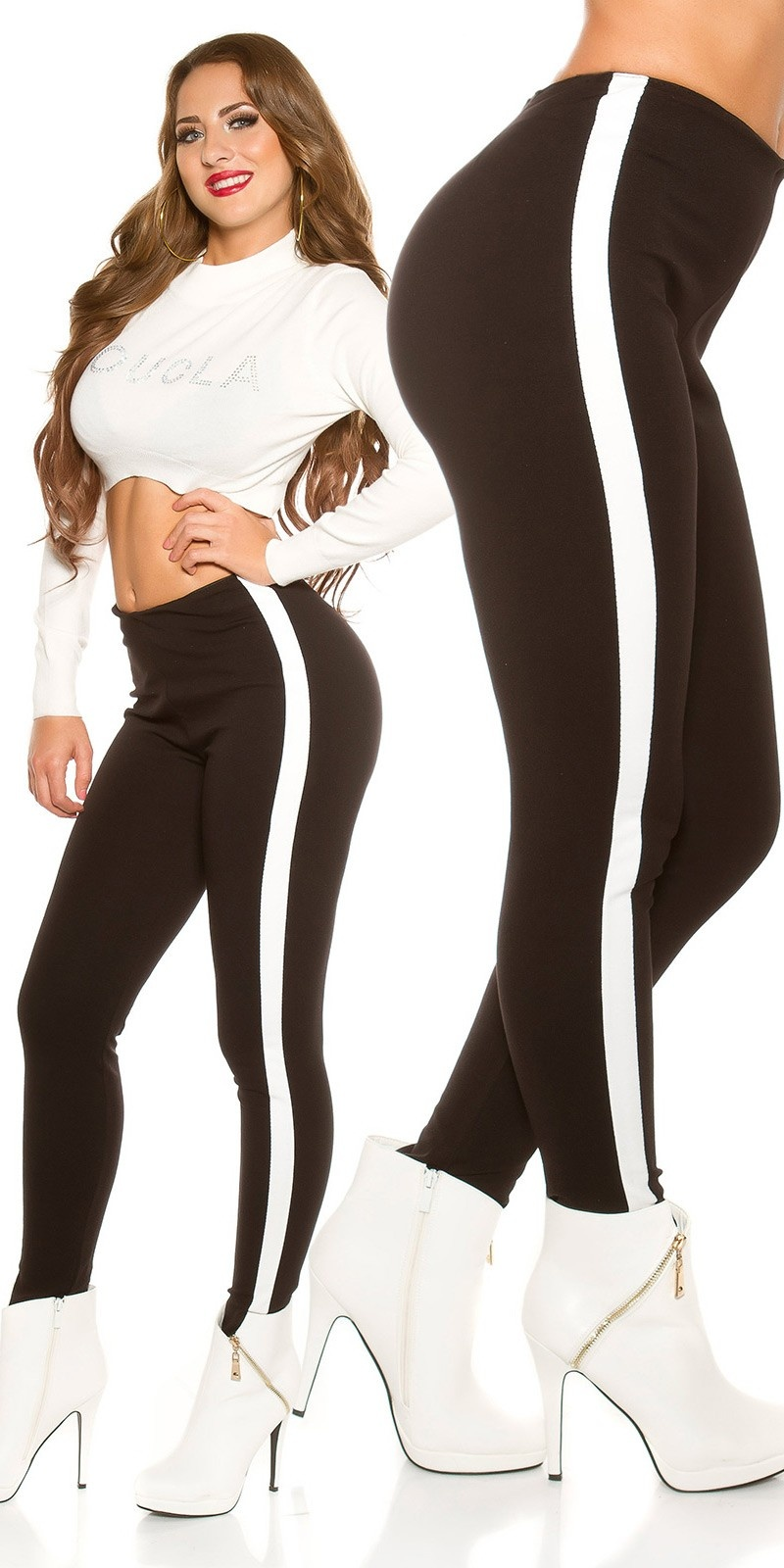 Sexy trousers with elastic waistband Black