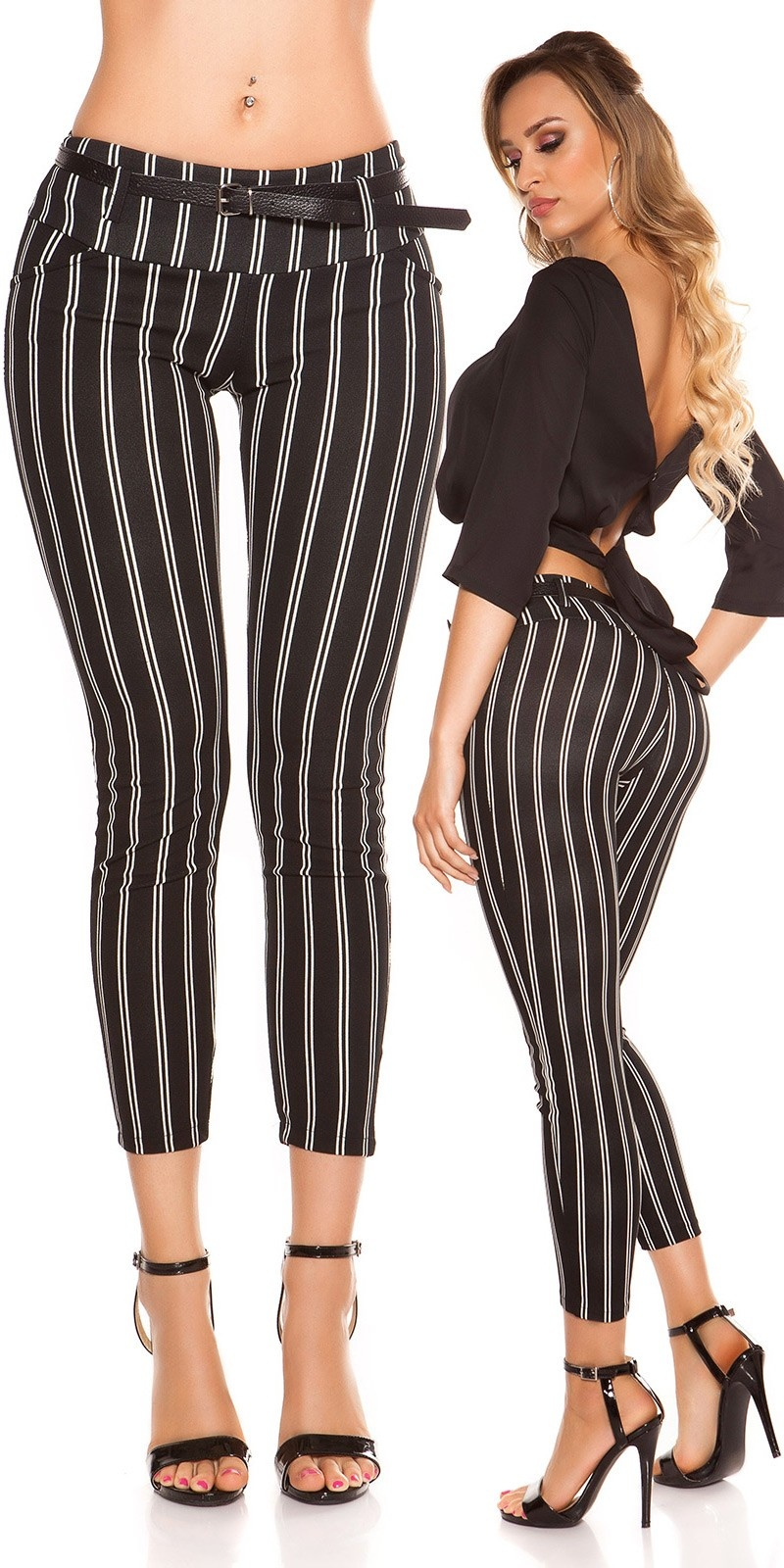 Trendy KouCla striped trousers with belt Black