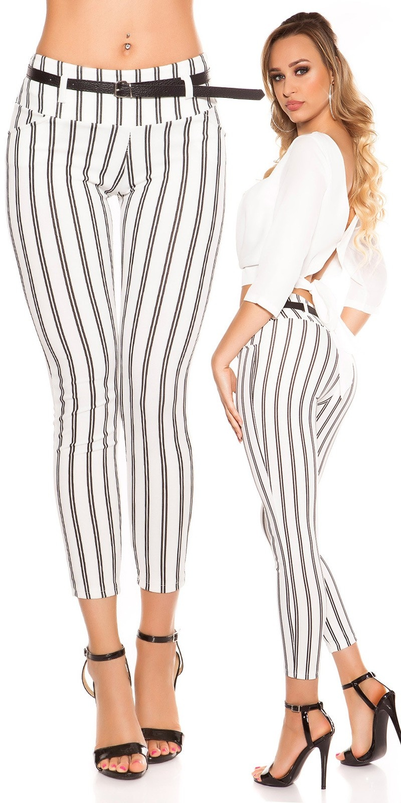 Trendy KouCla striped trousers with belt White