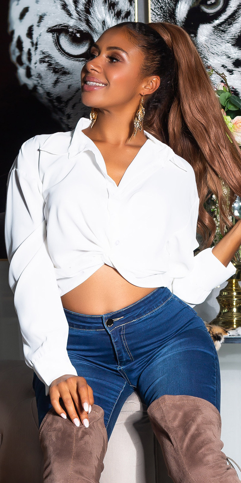 Sexy Elegant Cropped Blouse White