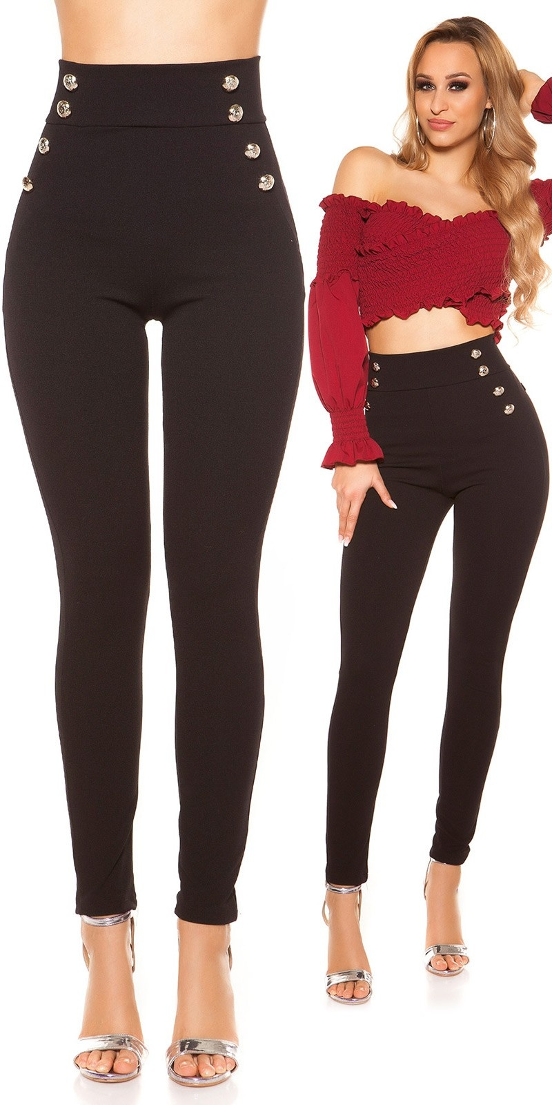 Sexy highwaist Pants with buttons Black