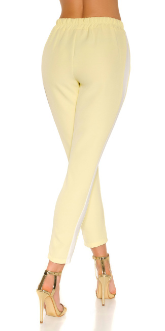 Trendy Workout pants with contrasting stripes Lightyellow