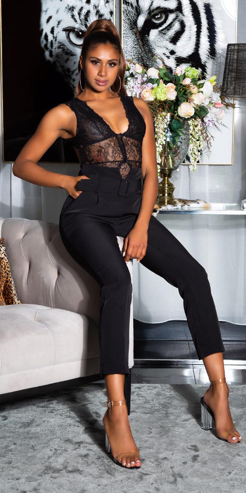 Sexy paperbag broek met riem zwart