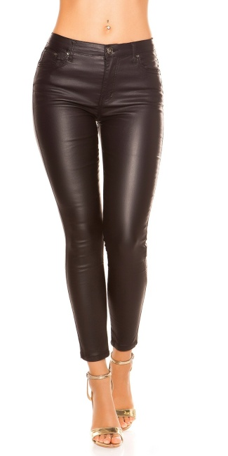 Sexy skinny leatherlook pants with zip at the back Black ... e7e0955a41