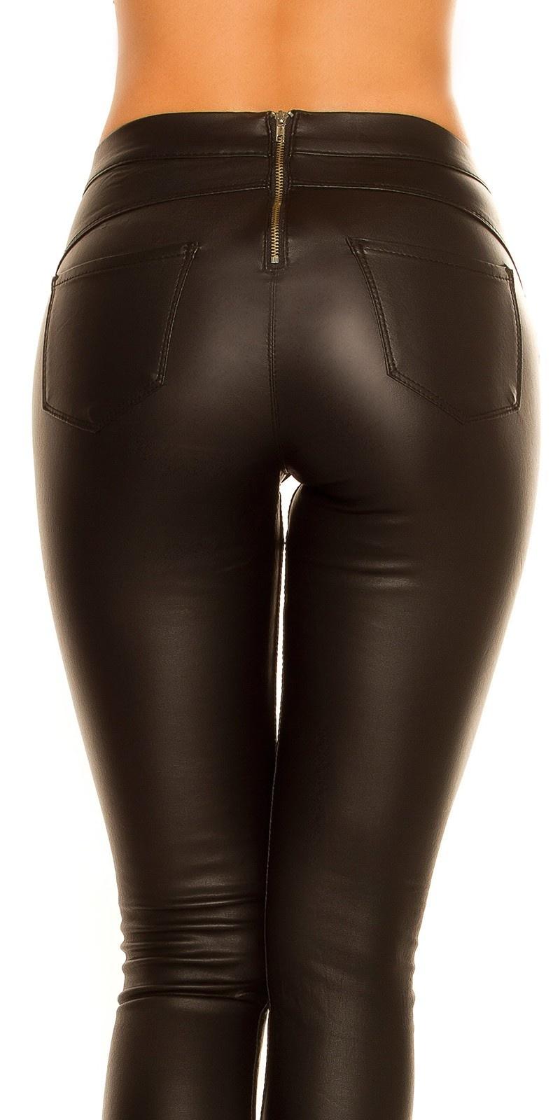 Sexy thermo tregging leder look met ritssluiting op de rug zwart