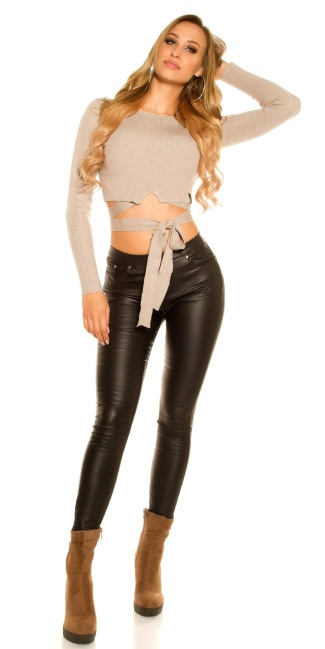 2bd4b82ba33bd7 Sexy thermo tregging leather look zip at the back Black ...