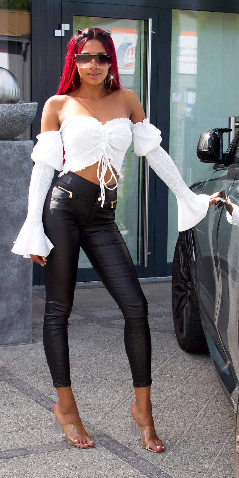 Sexy hoge taille leder look broek zwart