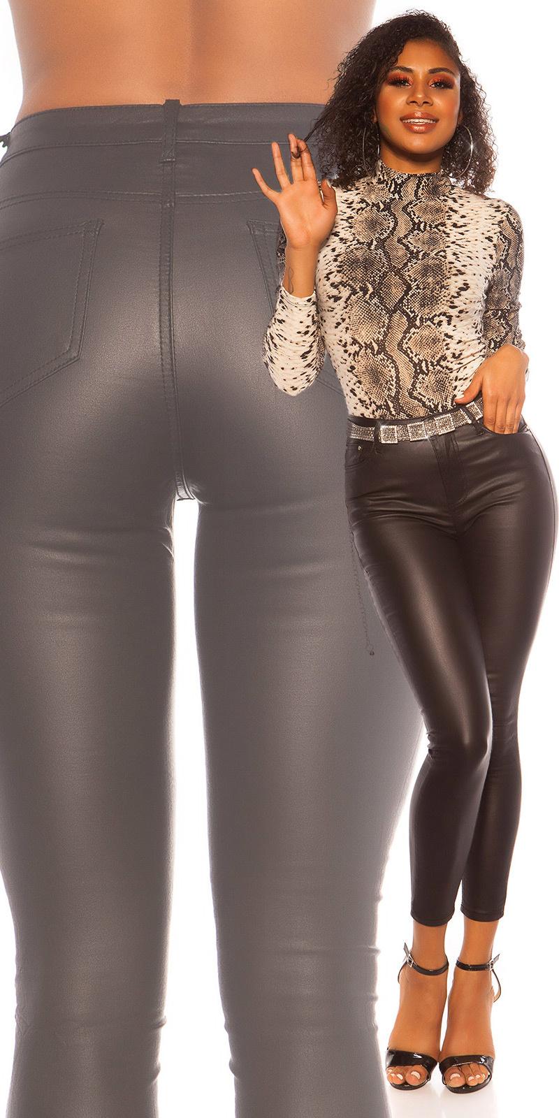 Sexy 5 zak lederlook broek zwart