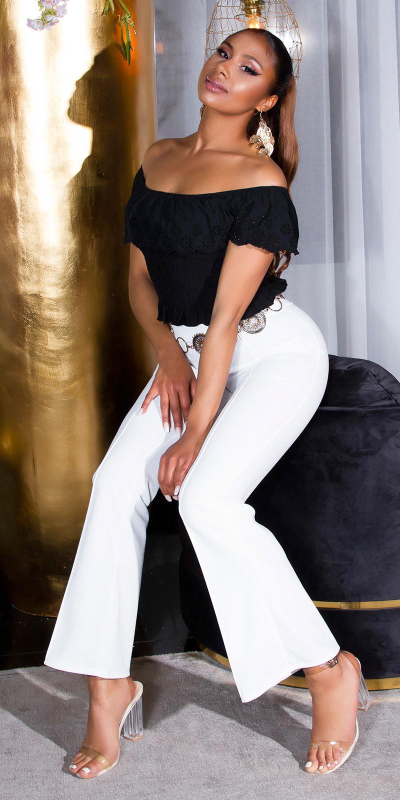 Sexy flattering broek met elastische band wit