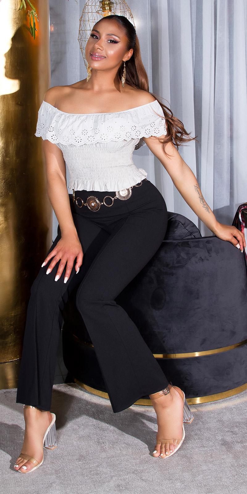Sexy flattering broek met elastische band zwart