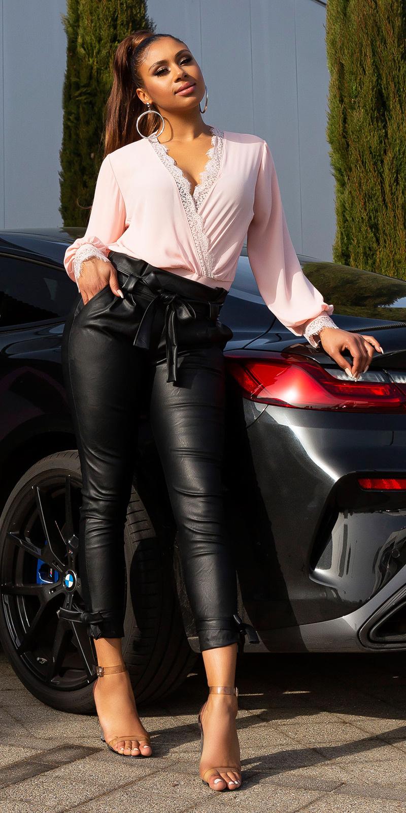 Sexy faux leder paperbag broek met riem & zakken zwart