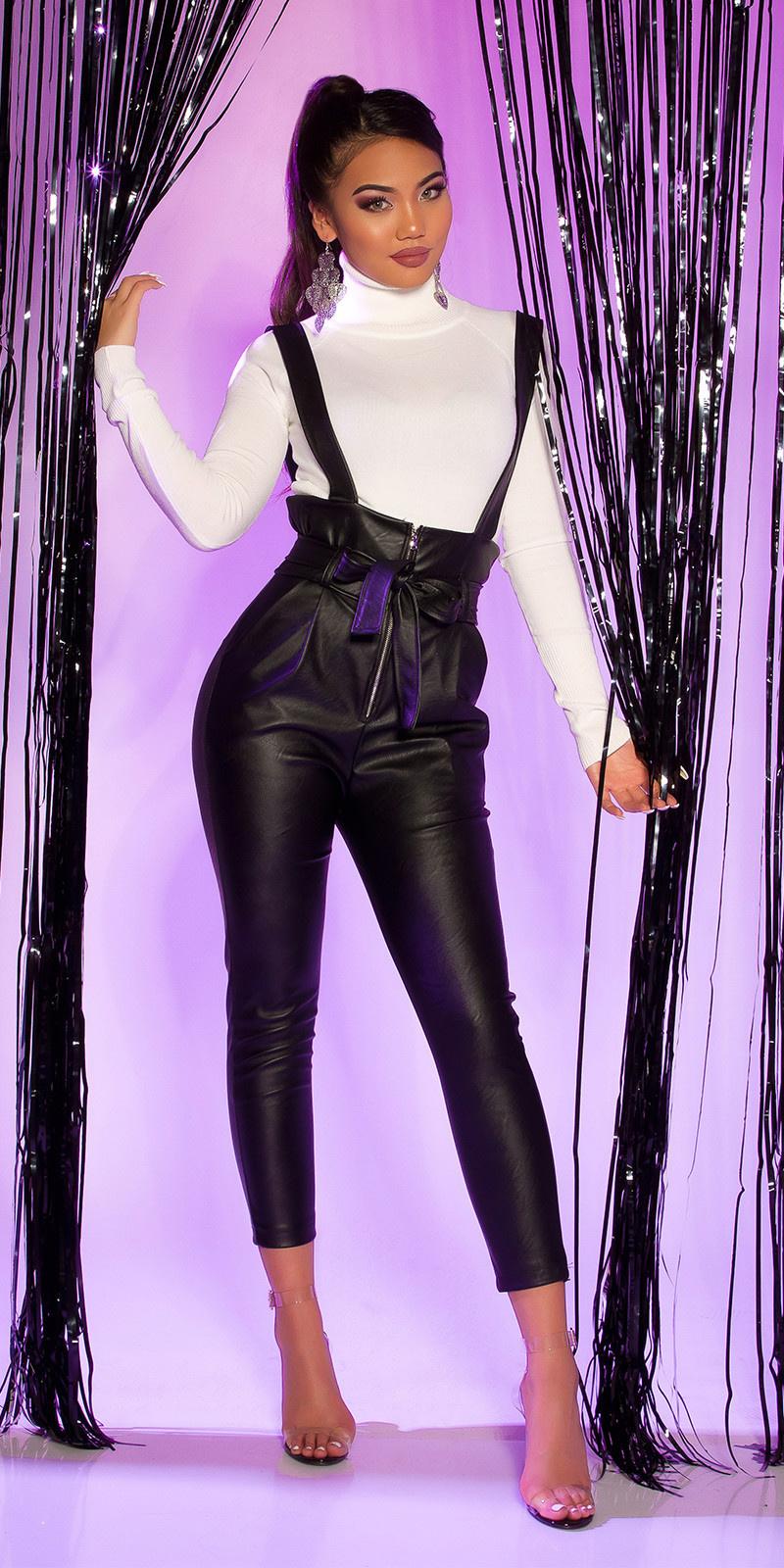 Sexy lederlook paperbag broek met bretels zwart