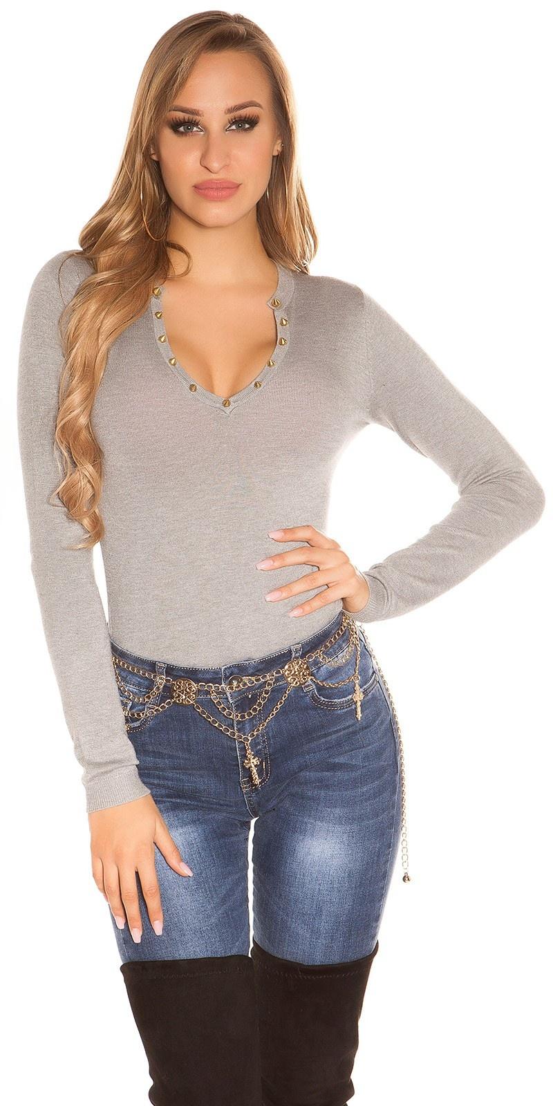 Sexy studs fijngebreide-sweater-trui grijs