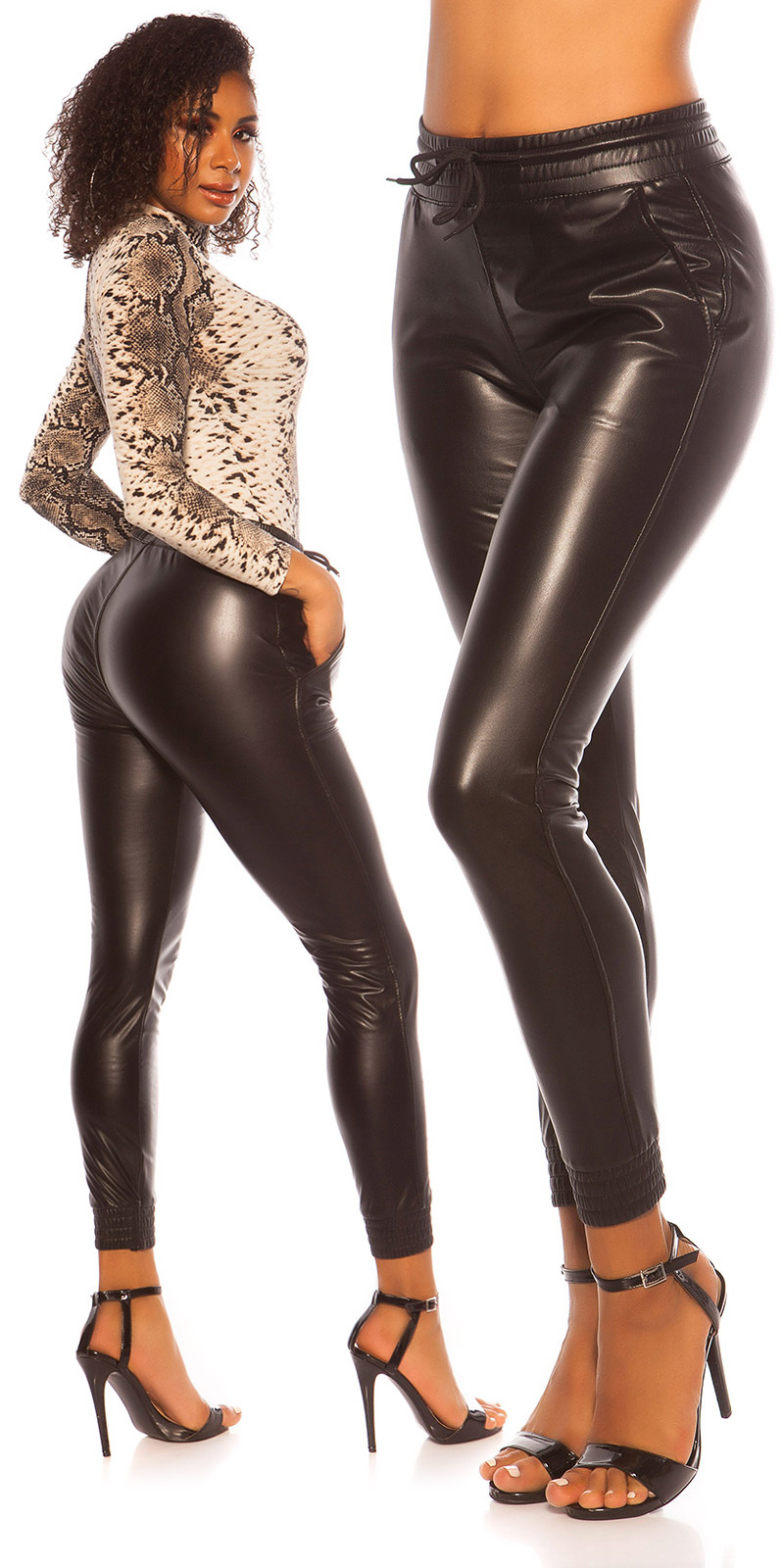 Sexy Leatherlook Pants with elastic waist band Black