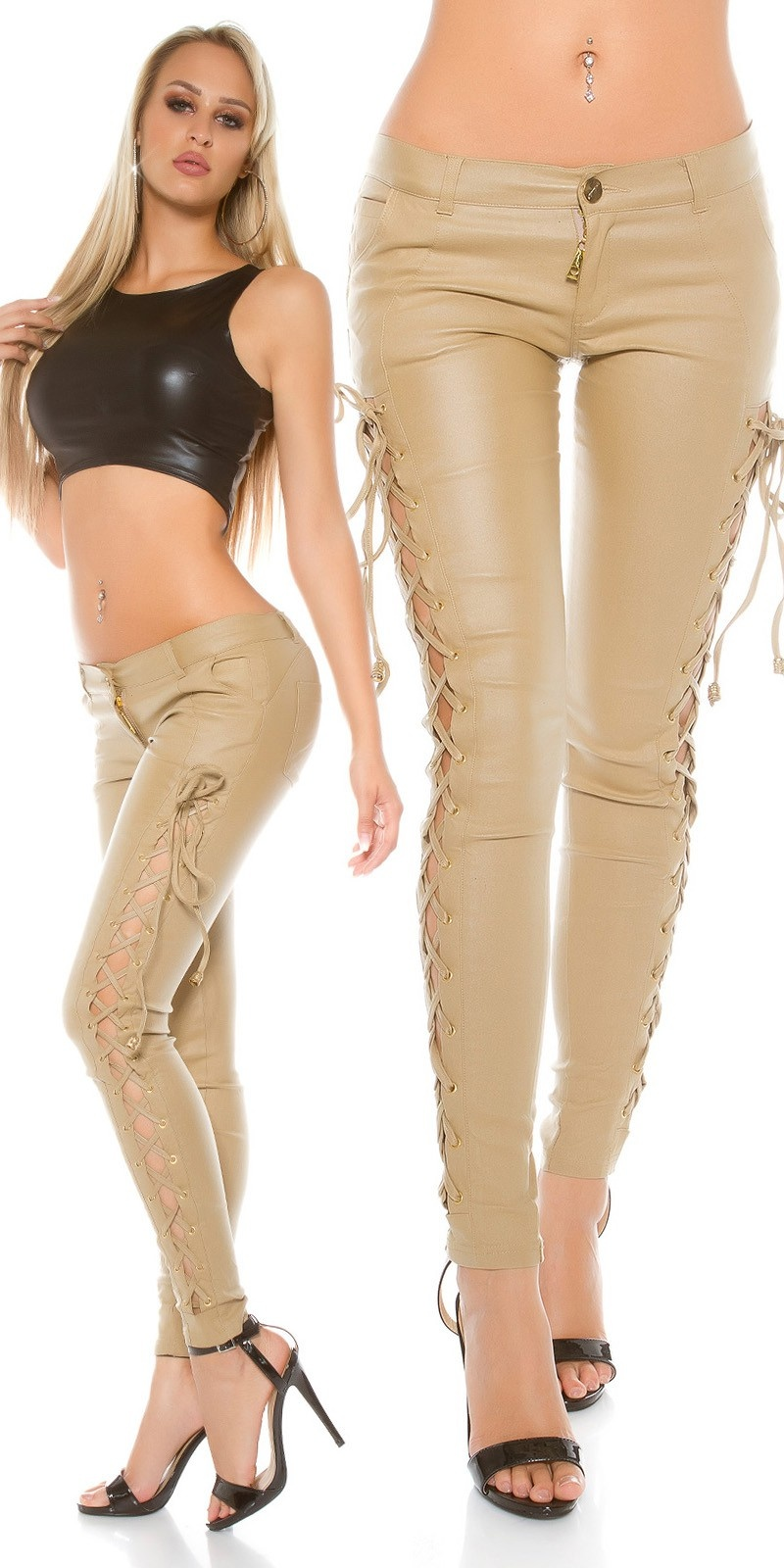 Leather look trousers with lacing Beige