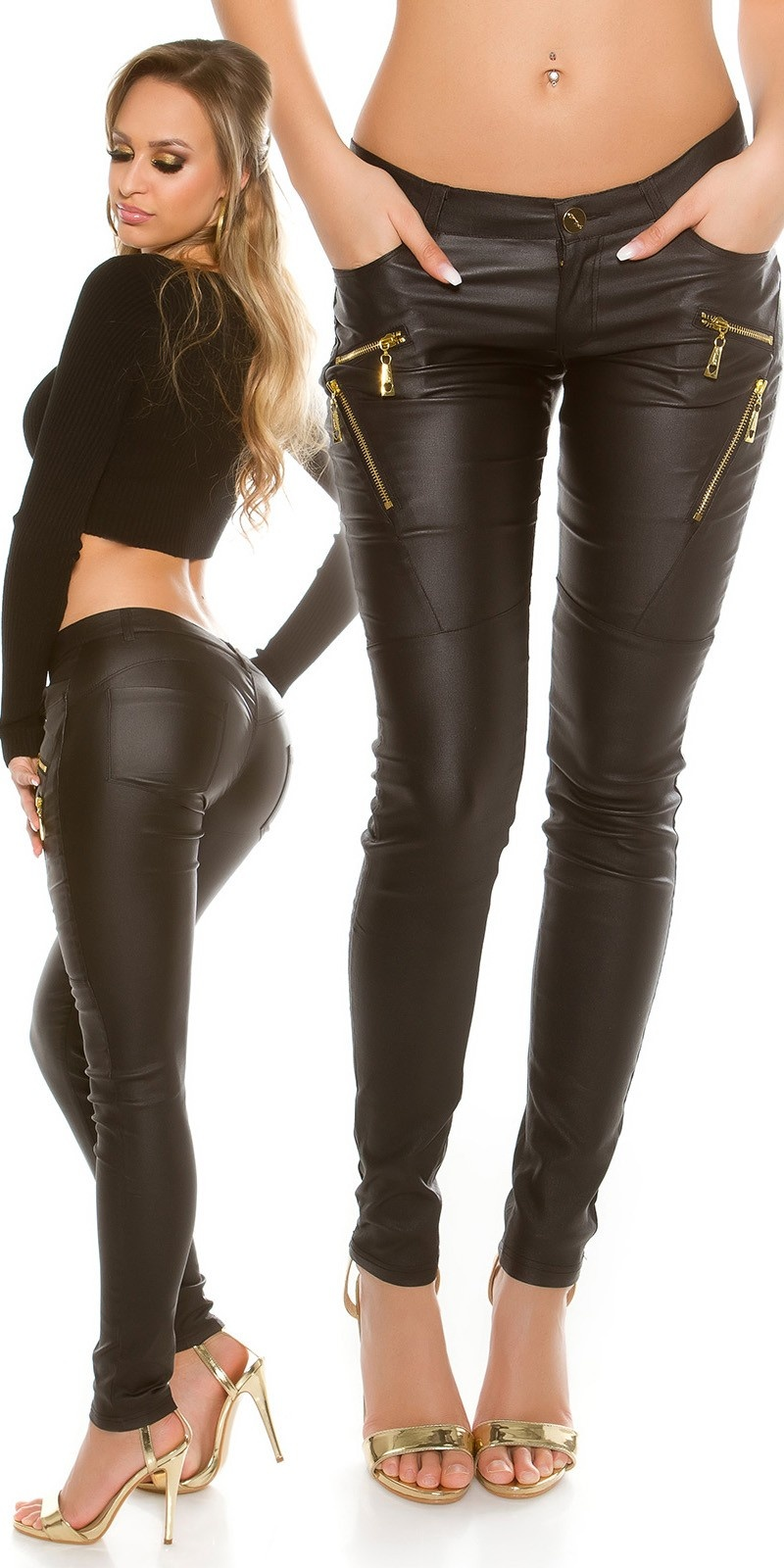 Sexy lederlook broek met decoratie-ritssluitingen zwart