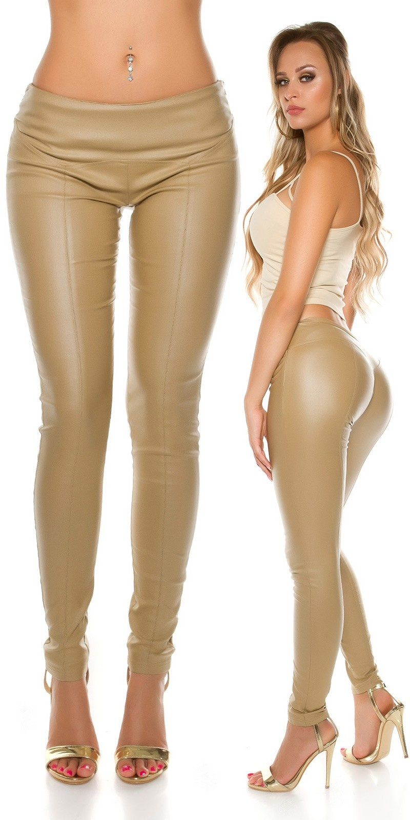 Sexy KouCla leather look trousers with decor seams Beige