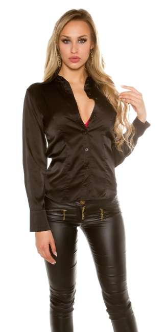 Sexy KouCla Satinlook Blouse Black