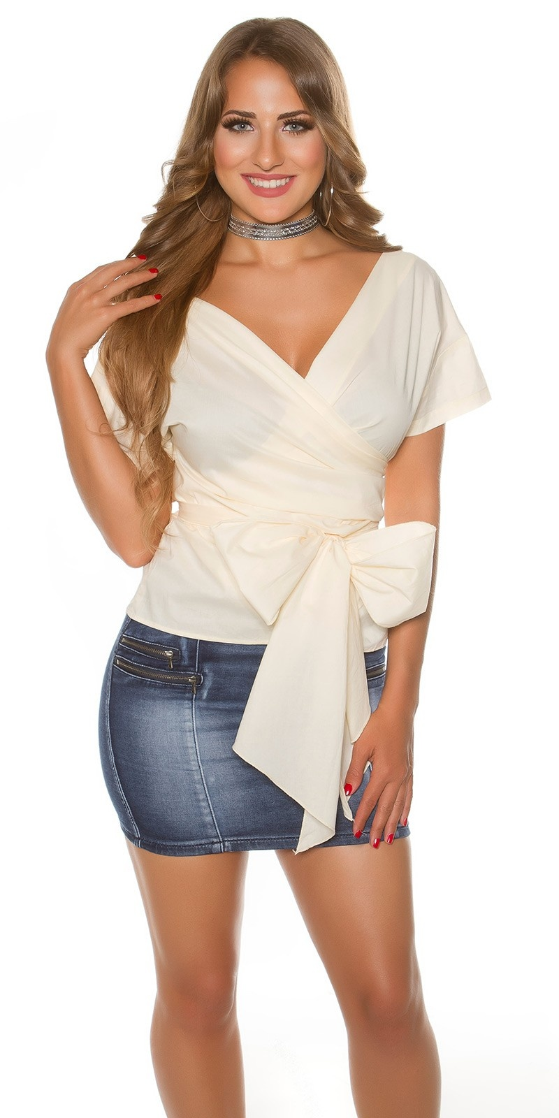 Sexy KouCla short sleeve wrap blouse Beige