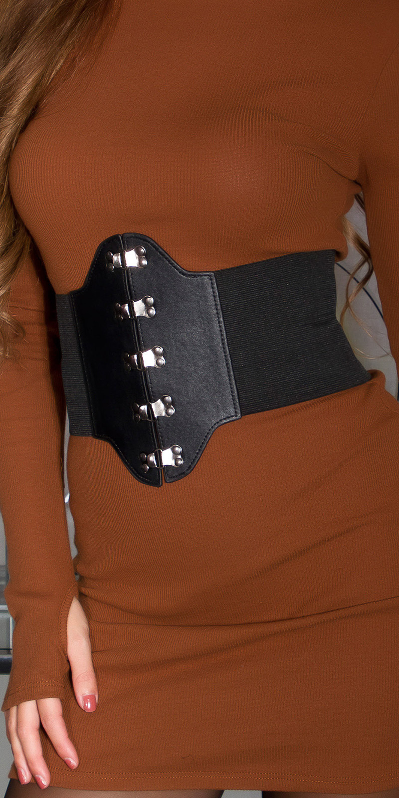 Sexy multi strap elastic corset waist belt Black