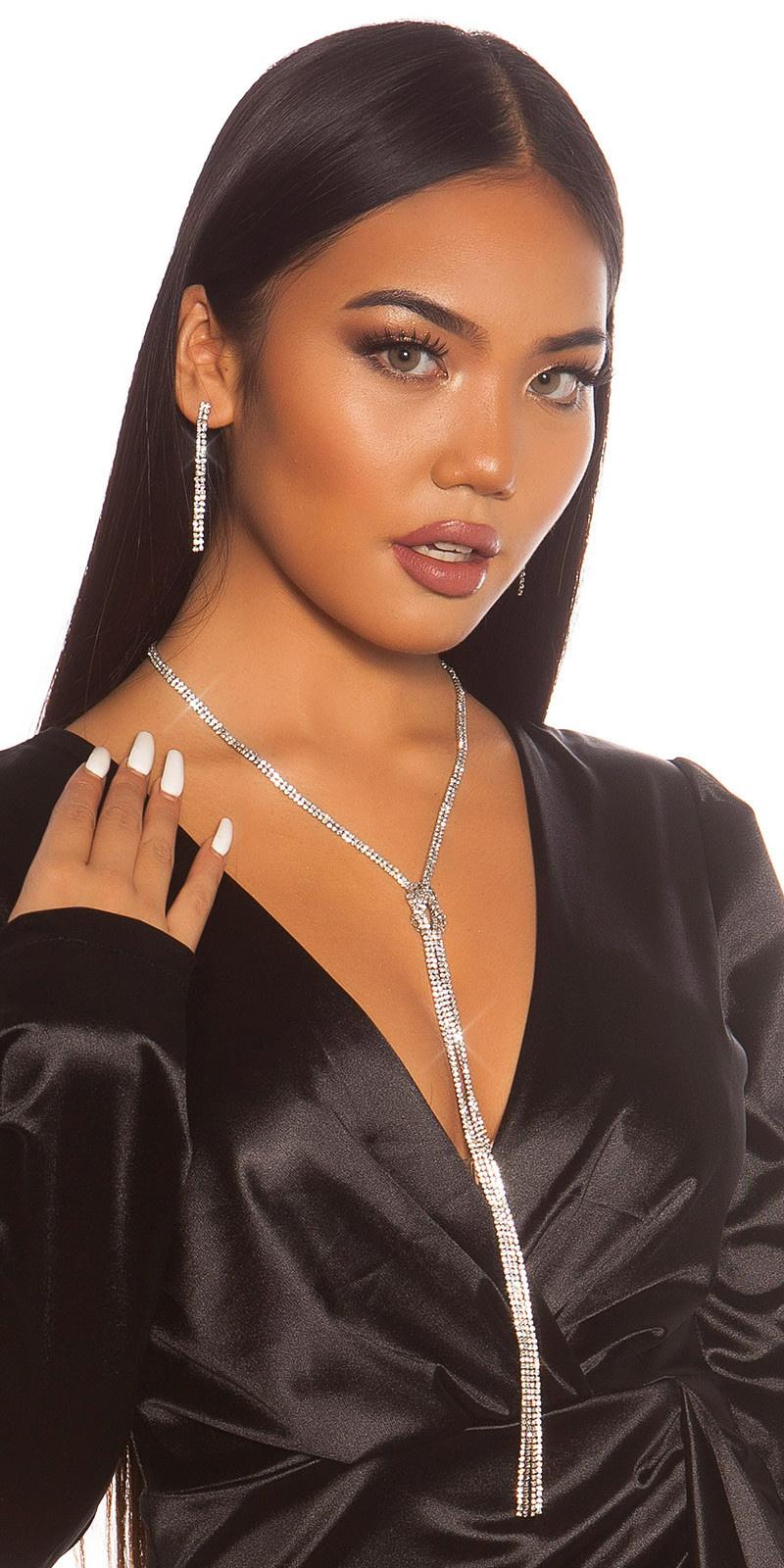 Sexy set met strass steentjes halsketting & oorbellen zilver
