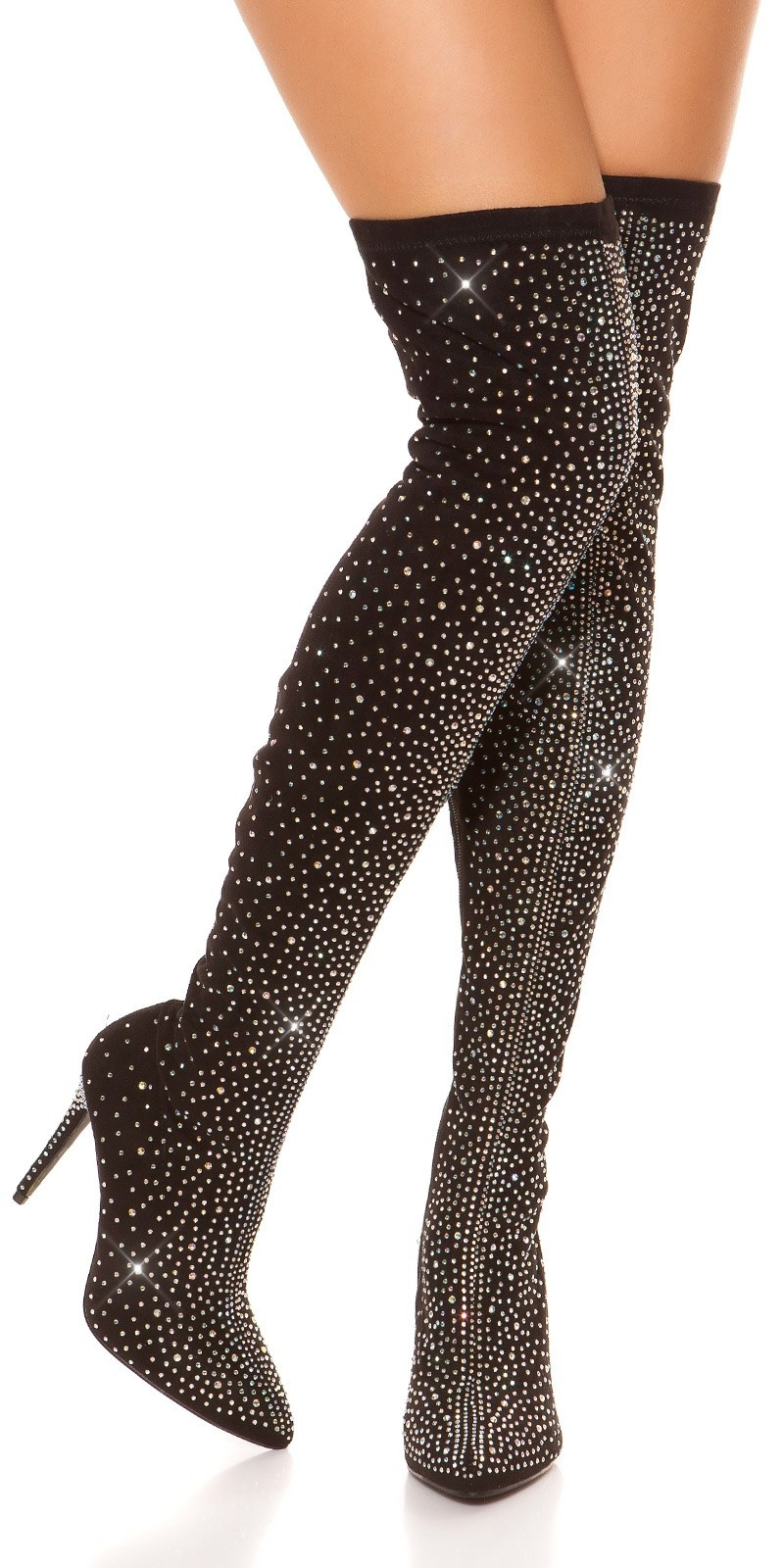 Sexy Party Rhinestone Overknees Black