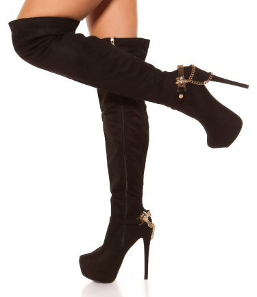Sexy suede look overknees with skull buckle Black