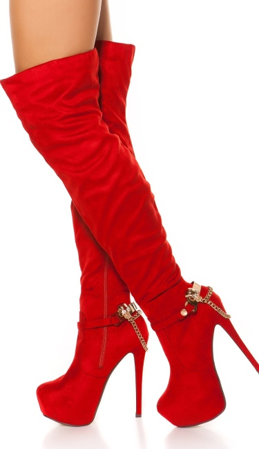 Sexy suede look overknees with skull buckle Red