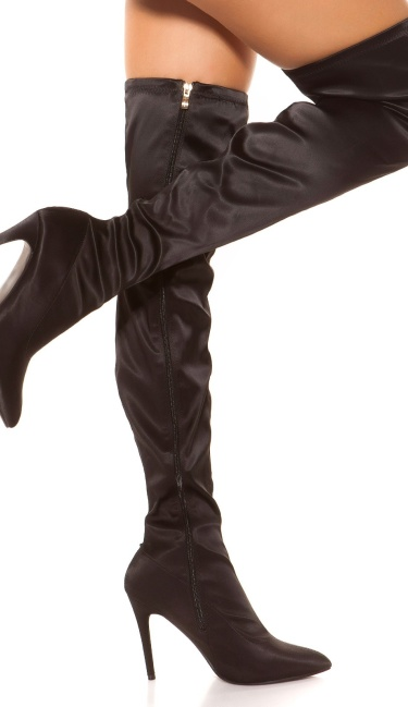 Sexy Satin Look Overknees Black