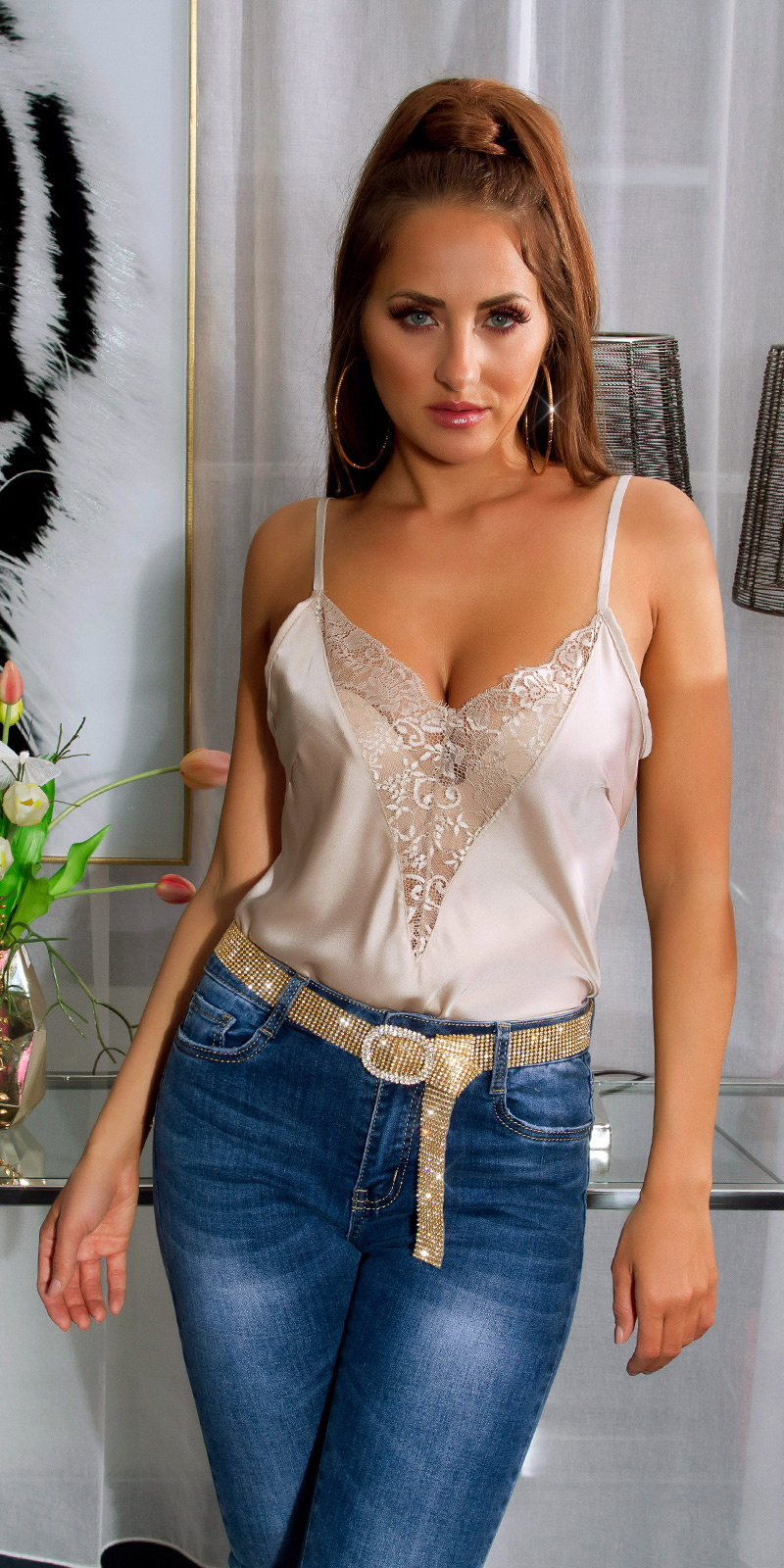 Sexy Satin Look Top with lace Beige