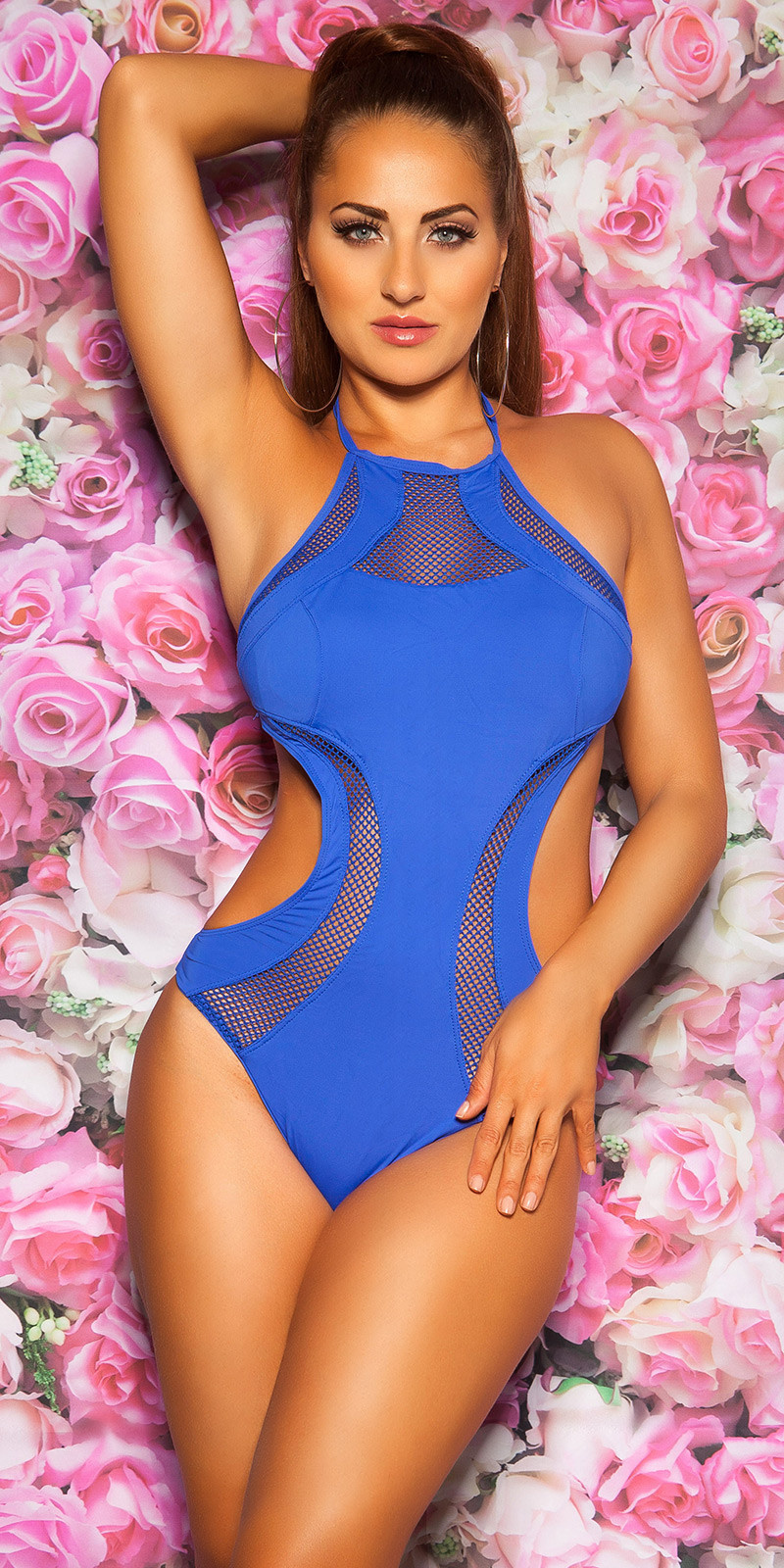 Sexy Neck-Monokini with net & removable pads Royalblue