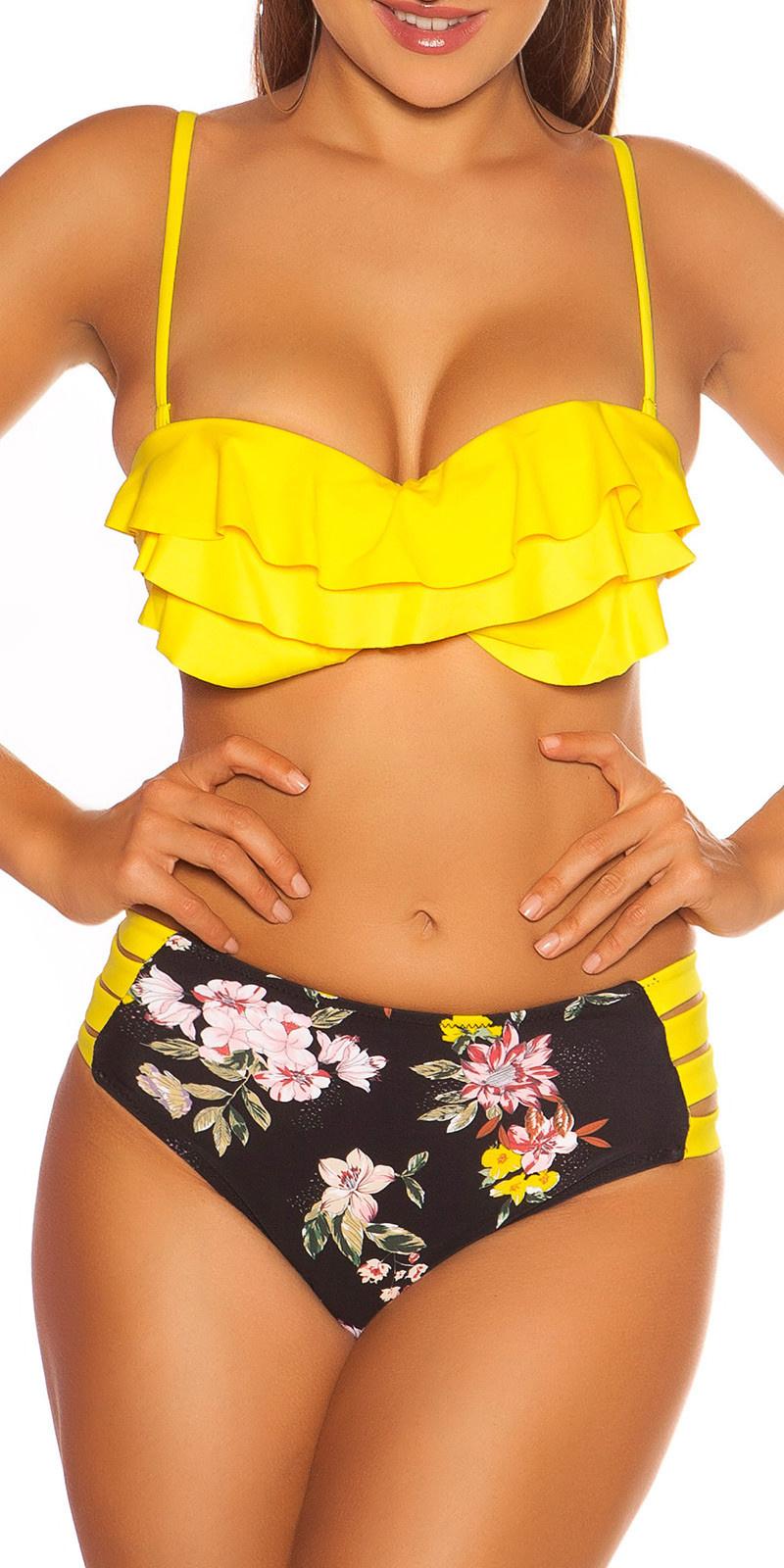 Sexy pushup-bikini met bloemenprint + hoge taille broek geel