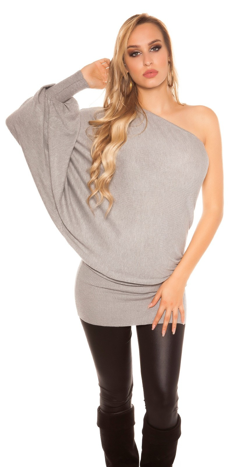 Sexy onesleeve-batlook-Longsweater? Minidress? Grey