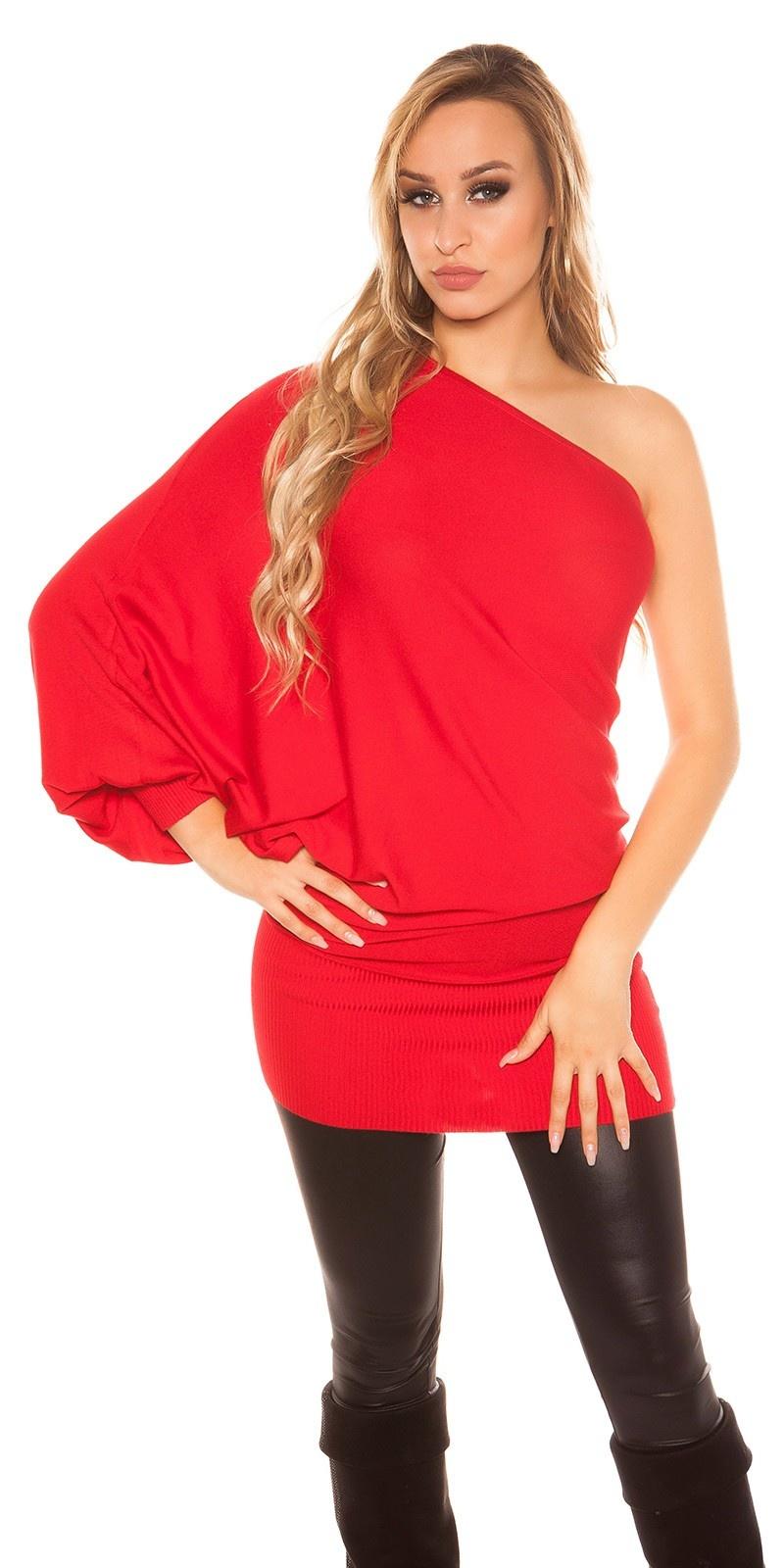 Sexy een-mouw vleermuis look lange sweater-trui - mini jurkje rood