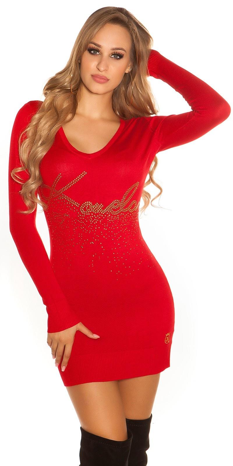 Sexy lange trui - jurk met studs print rood