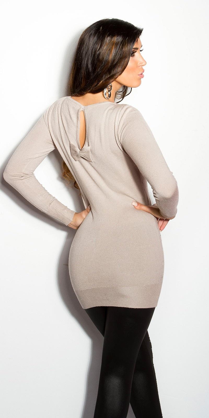 Sexy lange sweater-trui met strass steentjes en strik beige