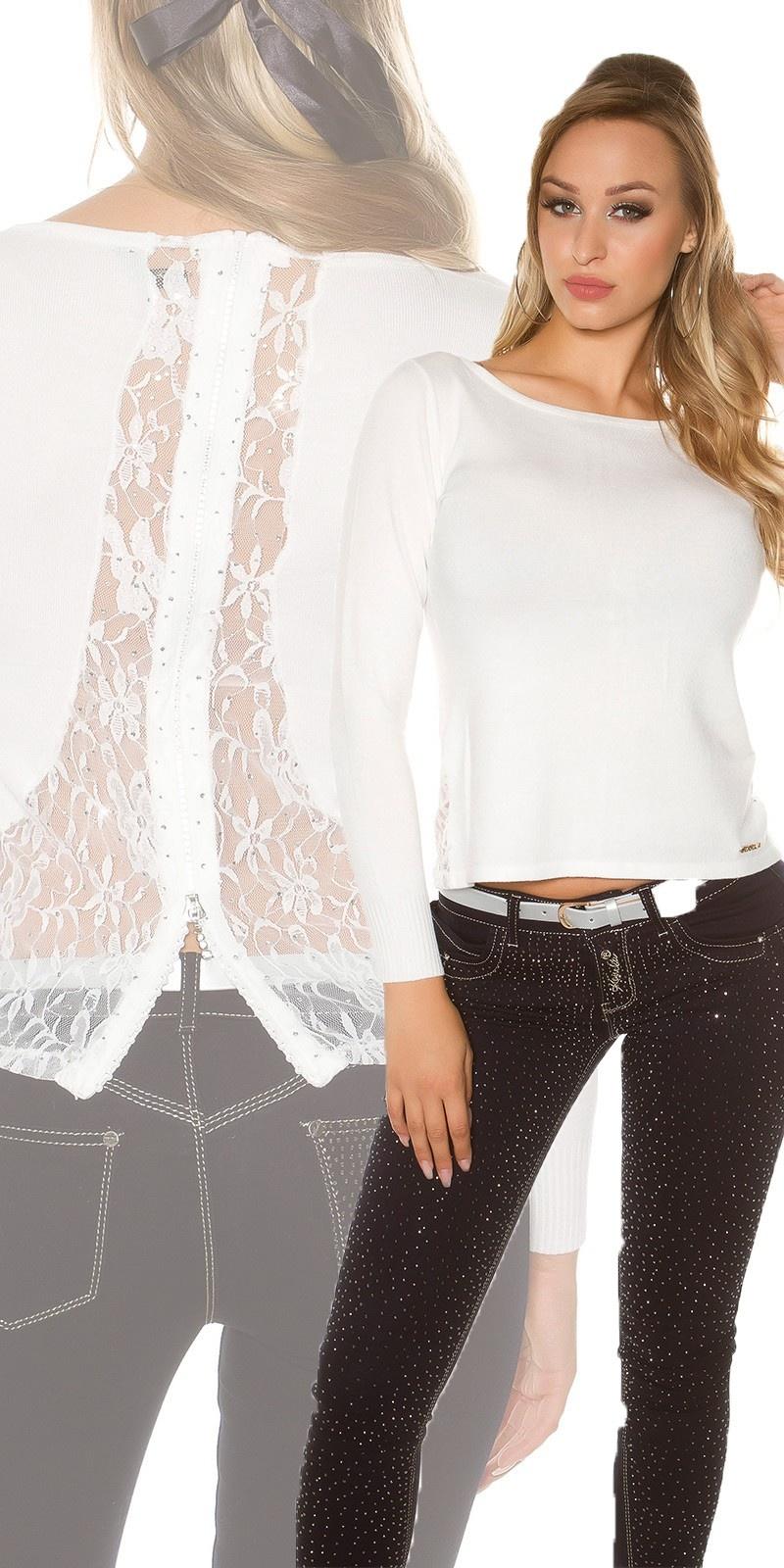 Sexy sweater-trui met strass steentjes, kant en ritssluiting wit