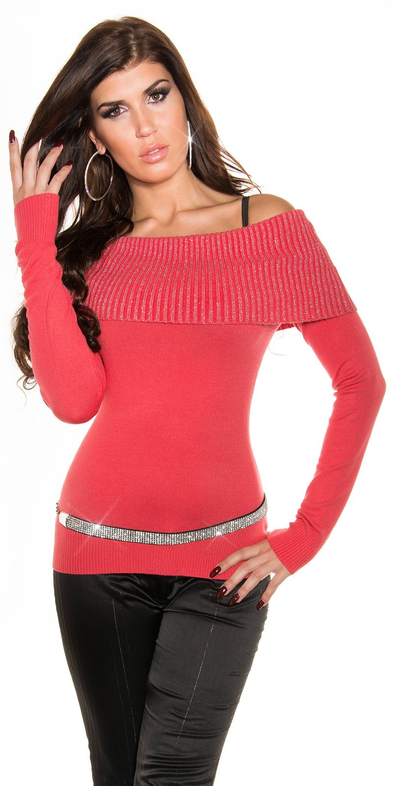 Sexy langmouw-sweater-trui koraal-kleurig