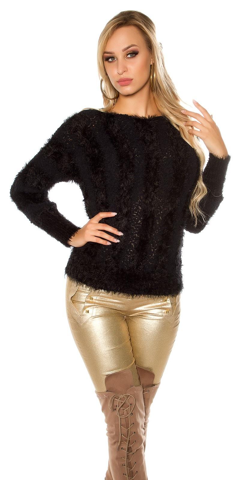 Sexy KouCla Plush Cuddly Fur jumper with Buclee Black
