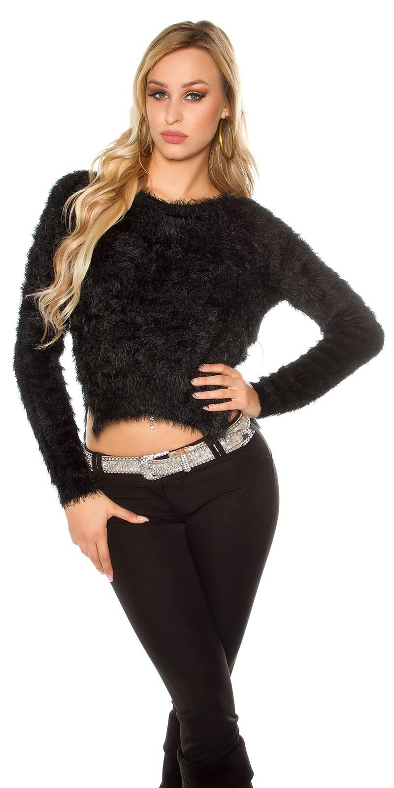 Sexy hoog-laag zachte sweater-trui zwart