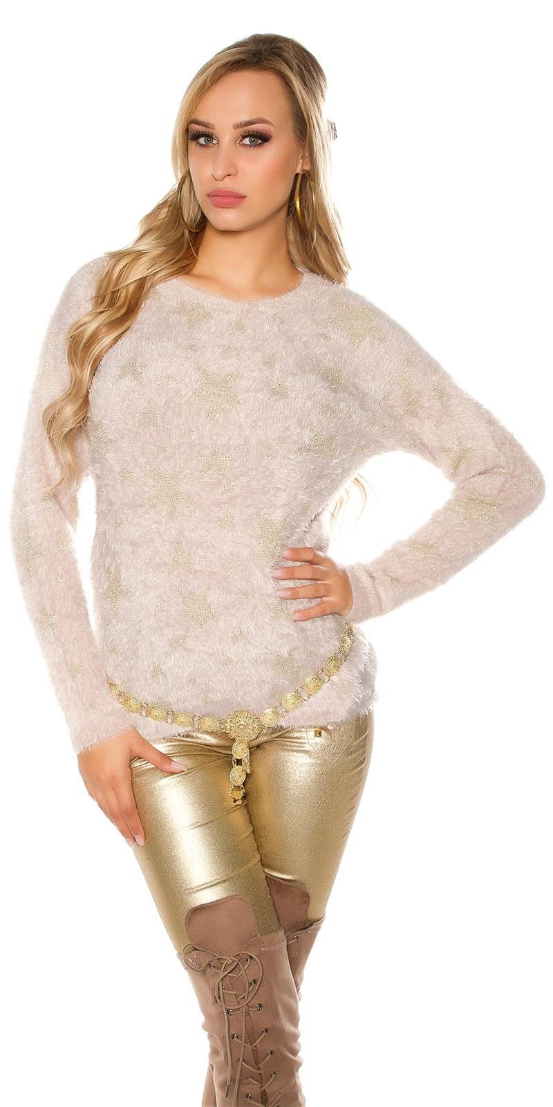 Trendy zachte sweater-trui met sterren beige